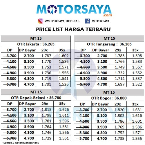 Harga Kredit Motor Yamaha MT 15 Murah